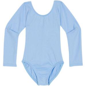 Girls-Qualitat-Sky-Blue-Short-Long-Sleeve-Sleeveless-Cotton-Lycra-Leotard-3-11yr
