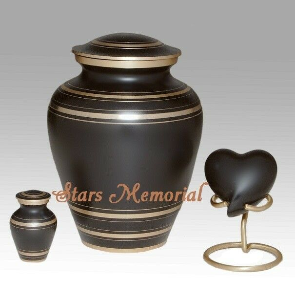 Elegant Black Memorial Urn - Adult,Brass Funeral Urn, ~Free Shipping~