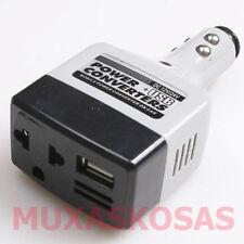 CONVERSOR INVERSOR 12V DC a 220V AC MECHERO COCHE CAMION USB CARGADOR MOVIL MP3S