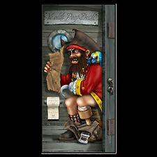 Funny PIRATE CAPTAIN in POOP DECK Bathroom Door Cover Birthday Party Decoration