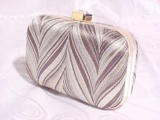SATIN CLUTCH EVENING BAG WITH JEWEL CLASP #561030-922 #BROWN/GOLD/SILVER