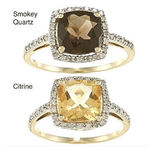 10k Yellow Gold Cushion Smokey Quartz and Diamond Ring 1//4 TDW