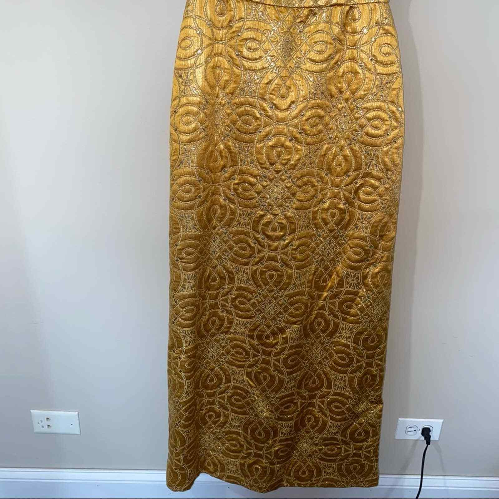 80s Vintage Scaasi Boutique Bombshell Gold Maxi D… - image 6