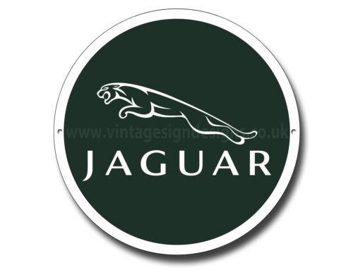 """JAGUAR11/"""" ROUND METAL SIGN.JAGUAR SPORTS CAR,VINTAGE JAGUAR CARS.CLASSIC JAGUAR."""