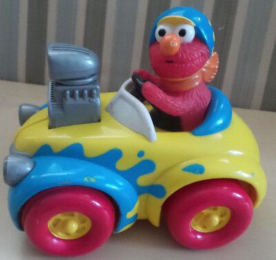 Elmo Push and Go Race Car 1998 Tyco Preschool Toy Sesame Street Jim Henson Pull