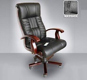 chefsessel mit massage schwarz leder drehstuhl ledersessel b rostuhl b rosessel ebay. Black Bedroom Furniture Sets. Home Design Ideas