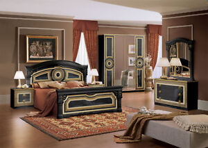 Details zu Schlafzimmer Set Komplett Schwarz Gold Mäander Hochglanz  Italienische Stil Möbel
