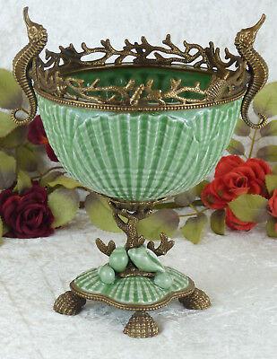 Schale Porzellan Bronze Maritim Jugendstil Craquele Antik Prunkschale Vase Edel