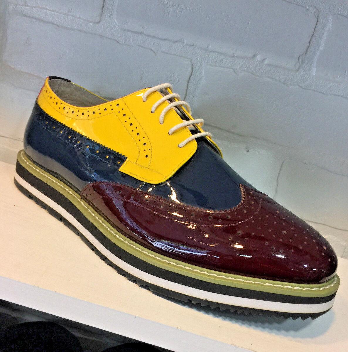 Men's Angelino Yellow   Navy   Burgundy Fashion Sneakers