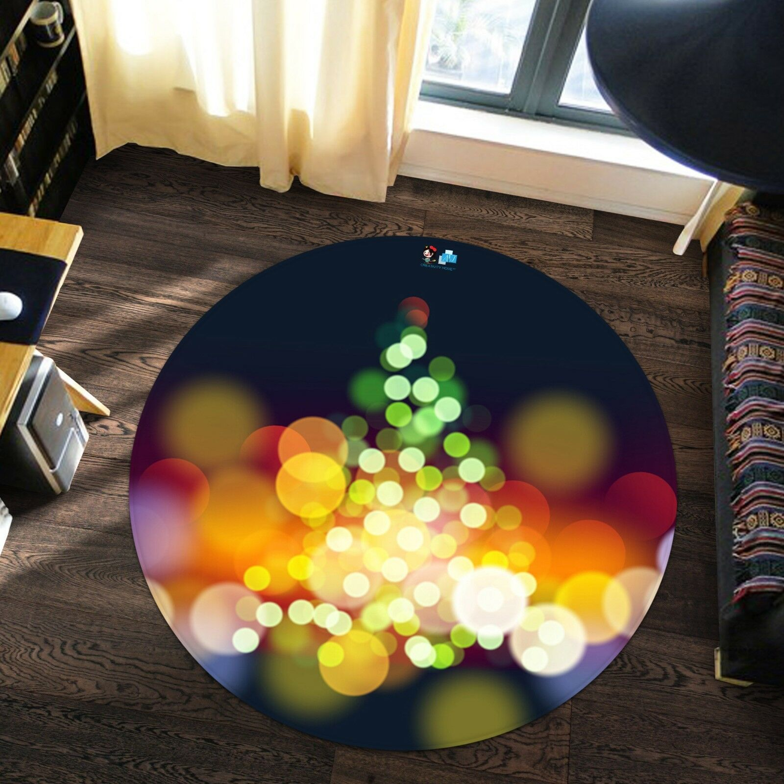 3D Christmas Xmas 722 Non Slip Rug Room Mat Round Quality elegant photo carpet