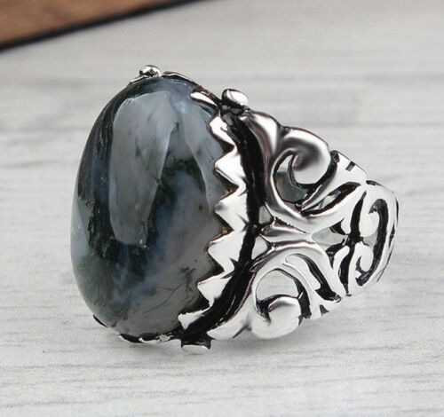 Turkish Jewelry 925 Sterling Silver Agate Aqeeq Mens Mans Ring ALL SİZE US 0014