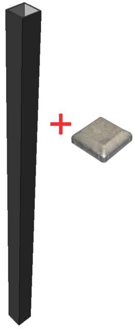 Black Powder Coated Steel Post with Galvanised Steel Cap - 50mm