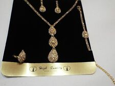 Necklace Ring Bracelet and Earrings Set beautiful gold crystals fashion jewelry