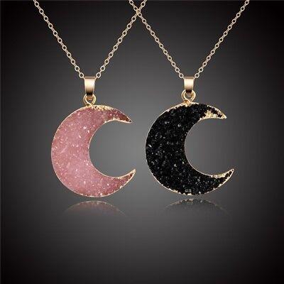Black Druzy Moon Pendant Necklace Choker Collar Crystal Quartz Woman Necklace