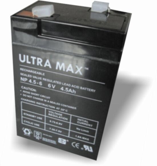 Ultramax NP4.5-6, 6V 4.5Ah Sellado PLOMO Ácido - AGM - Vrla Batería