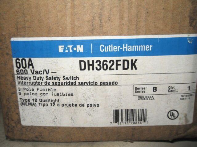 (X5-18) 1 CUTLER HAMMER DH362FDK HEAVY DUTY SAFETY SWITCH 60A