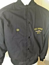 Mens Jacket Black Large Bomber USS Ranger CV4 Made for ED Auburn Sportswear