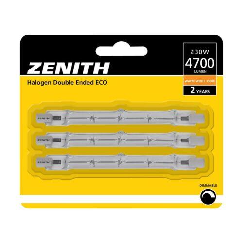 ZENITH 3x 230 W Eco = 300 W Linéaire Halogène Ampoule R7s QT-DE12 240 V 118 mm 4700 LM