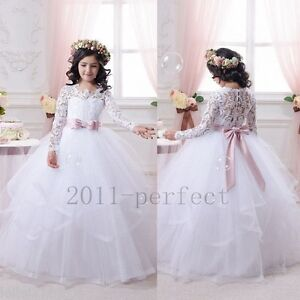 5aeedad20a0 Wedding Flower Girl Dresses Tiered Long Sleeves Lace Tutu Kids Gowns ...