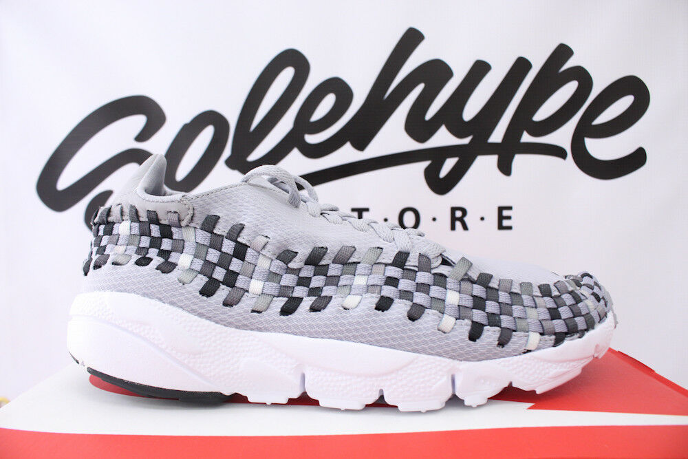 NIKE AIR FOOTSCAPE WOVEN NM WOLF GREY BLACK WHITE RUNNING 875797 004 SZ 10.5