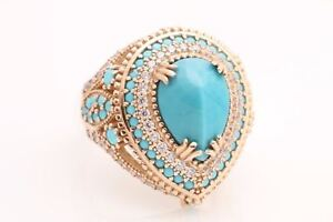 Turkish-Handmade-Jewelry-Drop-Turquoise-Topaz-925-Sterling-Silver-Ring-Size-10