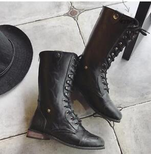 3cb1954e619 Details about Women's Leather Mid-calf Boots Vintage Flats Lace-up Rough  Fashion Riding Shoes