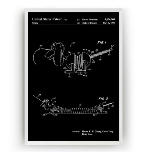 Toy Art Poster Wall Decor Gift Slinky Dog 1997 Patent Print Unframed