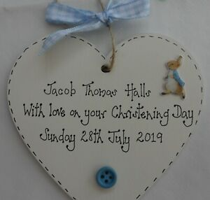 Christening-Gift-New-Baby-Peter-Rabbit-Personalised-heart-plaque-blue-or-pink