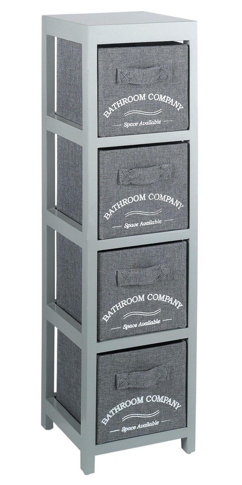 Grey Wooden 4 Drawer Canvas Baskets Bathroom Storage Unit Organiser Home Decor