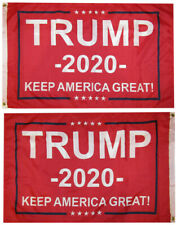 """President Trump 2020 /""""Keep America Great/"""" Red 100D Woven Poly Nylon 2/'x3/' Flag"""