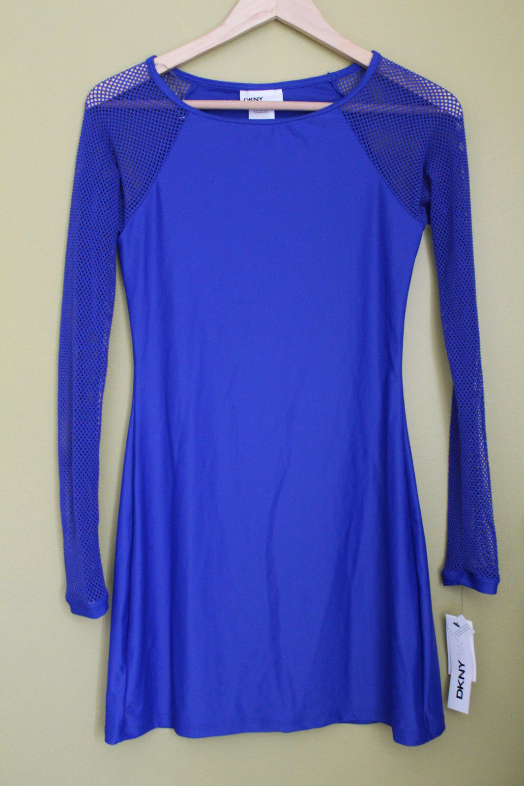 NWT DKNY Electric bluee Scuba Dress LS Mesh Sexy Beach Swim Cover Up XS  120