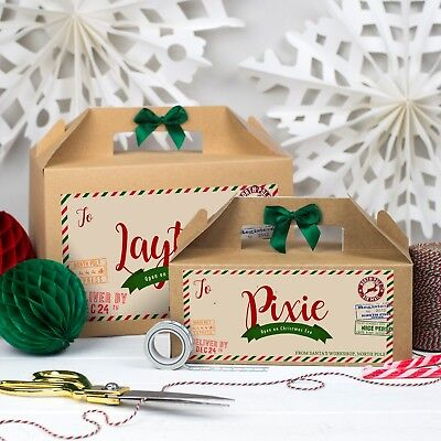Personalised Christmas Eve Gift Box Kraft Brown Party Favour Special Delivery