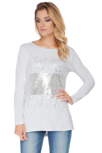 Womens Sequined Top Boat Neck Tunic Pullover T-Shirt Blouse Size 8-12 FT2136