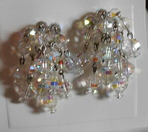 Vintage Silver Toned Aurora Borealis Beaded Clip On Earrings Used Lot AF