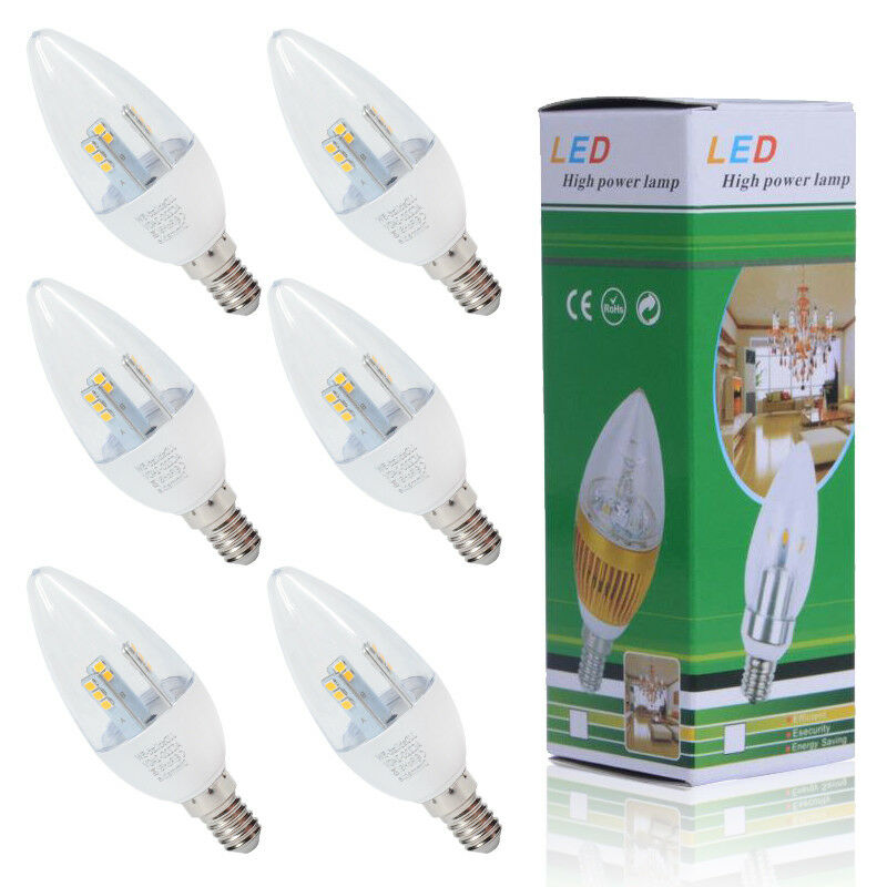 12 6x 5W E14 SES Dimmable LED Candle Bulbs Chandelier Spotlight Warm Weiß Light