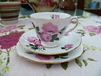 Pretty  Vintage Queen Anne English China Trio Tea Cup Saucer Pink Roses 8217