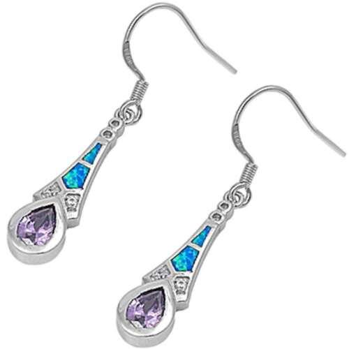 /& Cubic Zirconia .925 Sterling Silv Amethyst Dangle Lab Created Blue Fire Opal
