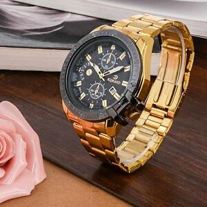 Luxury-Mens-Gold-Stainless-Steel-Date-Quartz-Analog-Wrist-Watch-Black-Dial-BO