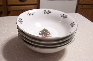 Set-of-4-Soup-Cereal-Bowls-in-the-Noel-Morning-pattern-by-Gibson-Designs-EUC