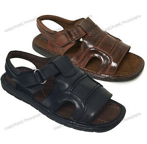 Mens-Fisherman-Sandals-Hook-and-Loop-Open-Toe-Casual-Slippers-Summer-Shoes-Sizes