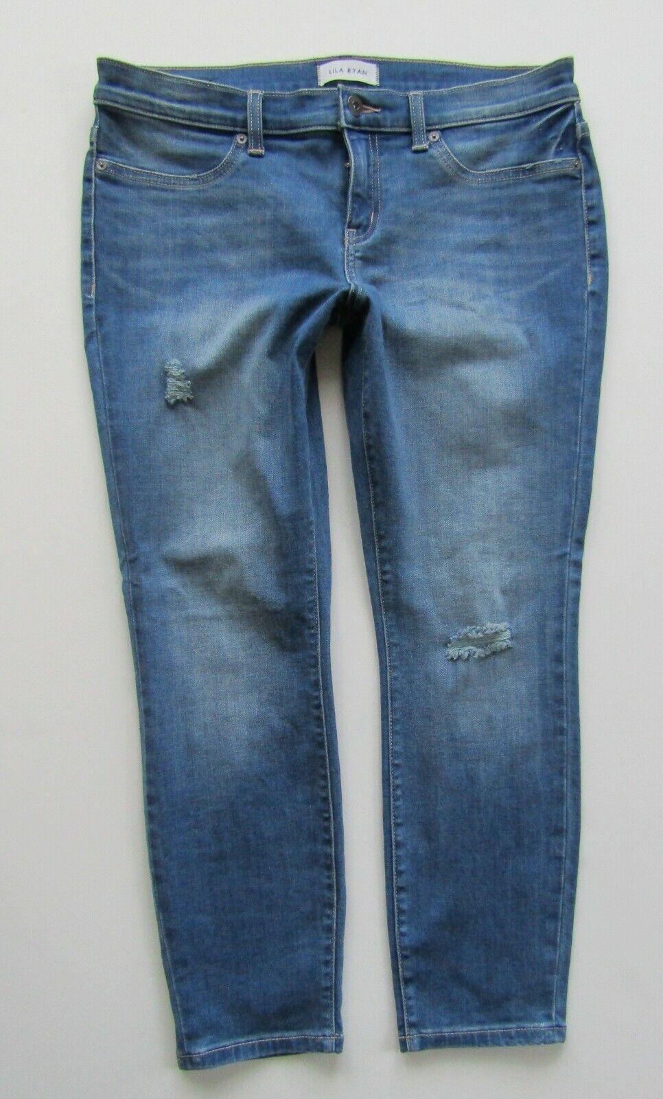 purple Ryan Skinny Ankle Crop Distressed Jean in Prescott - Size 32 Petite