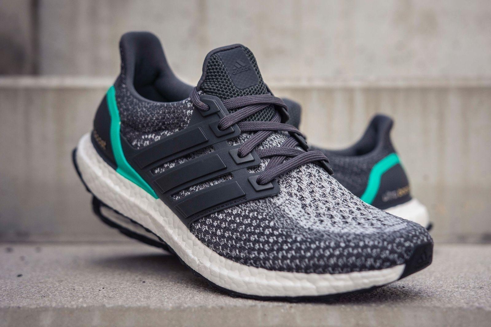 ⭐ Adidas Ultra Boost 2.0  8 UK grau Shock Mint AQ5931 Mens Trainers Running 7.5