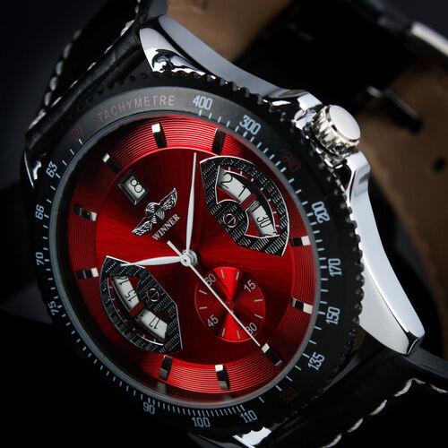 Montre NEUVE Automatique Homme Date Rouge Bracelet Cuir Noir pour lui