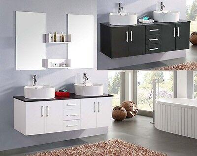 Mobile Bagno doppio lavabo 150 bianco con Specchio e Top cristallo nero Mobili