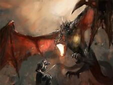 ART PRINT POSTER PAINTING DRAWING FANTASY DRAGON SLAYER BATTLE COOL LFMP1037