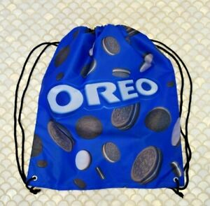 OREO Cookie Drawstring Backpack Book Bag Purse Promotional Oreo Logo Blue *NEW!!