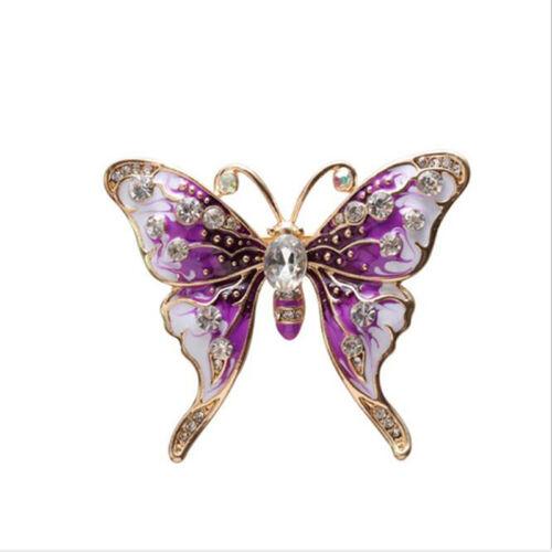 Elegant Faux Pearl Colorful Zircon Butterfly Enamel Rhinestone Girl Brooch Pin Z