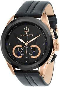 Maserati Traguardo Men's Chronograph Black Dial Black Leather Watch R8871612025