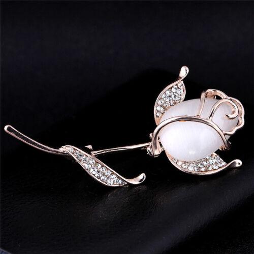 Opal Flower Brooch Pin Rhinestone Crystal Dress Wedding Party Brooch JewelryFY