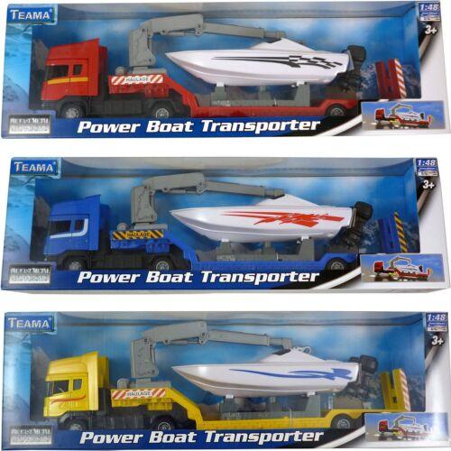 Free Wheel Teama Diecast Power Boat Transporter Model Toy BT256ANY